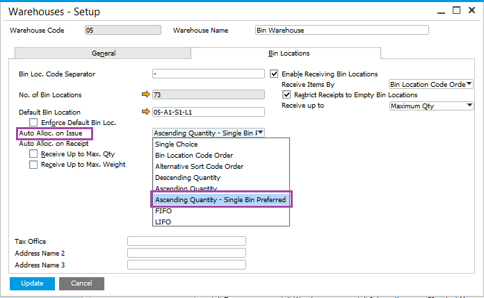 Single Bin Location at a Time in SAP Business One.png